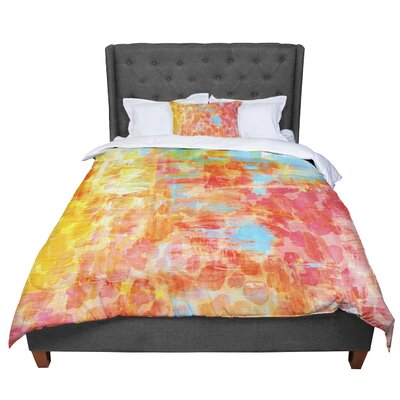Ebi Emporium Pastel Jungle Comforter Size: King, Color: Orange/Red