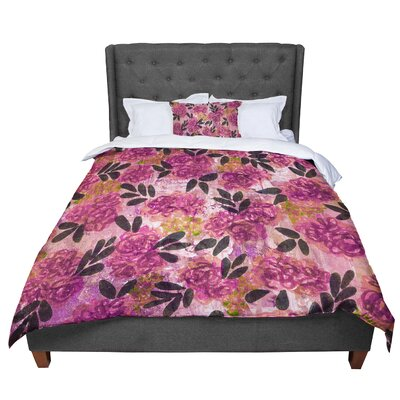 Ebi Emporium Grunge Flowers II Floral Comforter Size: Twin, Color: Pink