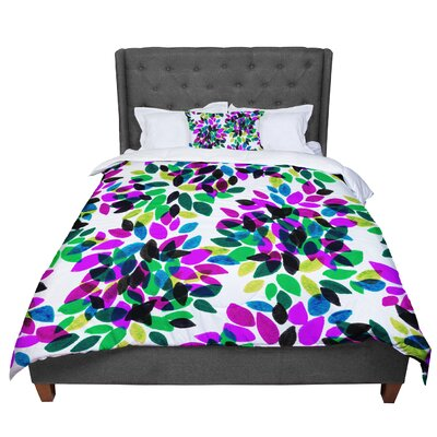 Ebi Emporium Dahlia Dots 2 Comforter Size: Queen, Color: Purple/Green