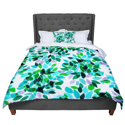 Ebi Emporium Dahlia Dots 2 Comforter Size: Queen, Color: Teal/Green