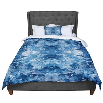 Ebi Emporium Tie Dye Helix Burgundy Abstract Comforter Size: Queen, Color: Blue