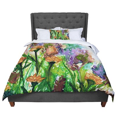 Ebi Emporium Floral Insurgence 6 Comforter Size: Queen, Color: Green/Pink