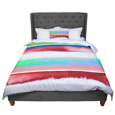 Ebi Emporium Prism Stripe 2 Comforter Size: King, Color: Red/Blue