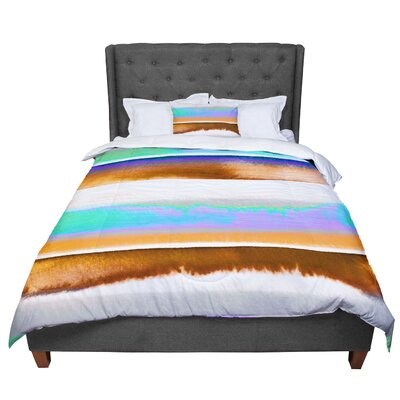 Ebi Emporium Prism Stripe 2 Comforter Size: King, Color: Purple/Aqua