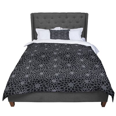 Julia Grifol Flowers Comforter Size: Queen, Color: Black