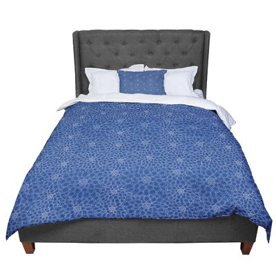 Julia Grifol Flowers Comforter Size: Queen, Color: Blue