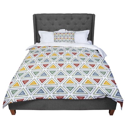 Julia Grifol Ikat Triangles Comforter Size: Queen