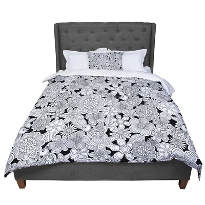 Julia Grifol Welcome Birds Floral Comforter Size: Queen, Color: White/Black