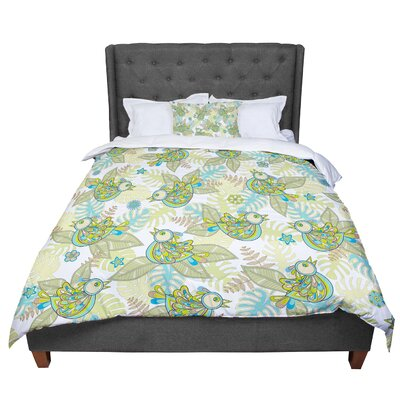 Julia Grifol Summer Birds Lime Comforter Size: Twin