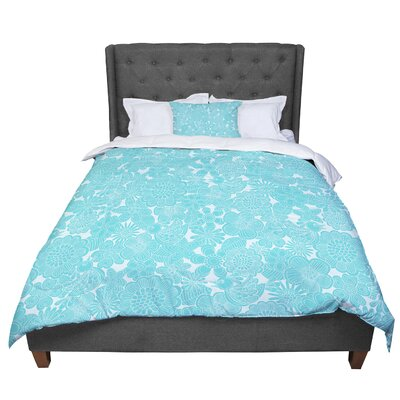 Julia Grifol Welcome Birds Floral Comforter Size: Twin, Color: Blue/Aqua
