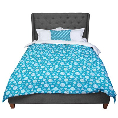 Julie Hamilton Midnight Snow Winter Comforter Size: King, Color: Blue