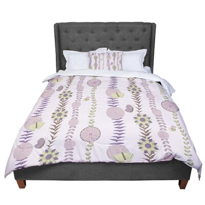 Judith Loske Flower Blush Pattern Comforter Size: Queen, Color: Purple