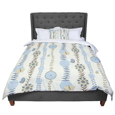 Judith Loske Flower Blush Pattern Comforter Size: Queen, Color: Blue