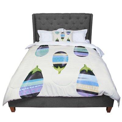Judith Loske Happy Aubergines Comforter Size: Queen