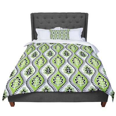 Jacqueline Milton Oak Leaf - Lime Floral Comforter Size: Queen, Color: Green
