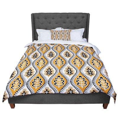 Jacqueline Milton Oak Leaf - Lime Floral Comforter Size: Queen, Color: Orange