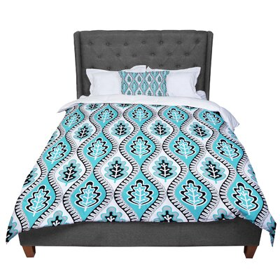 Jacqueline Milton Oak Leaf - Lime Floral Comforter Size: Twin, Color: Blue
