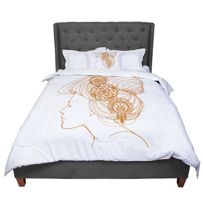 Jennie Penny Organic Comforter Size: Queen, Color: White