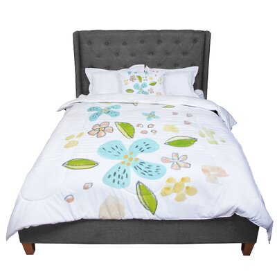 Jennifer Rizzo Happy Flower Dance Floral Comforter Size: King