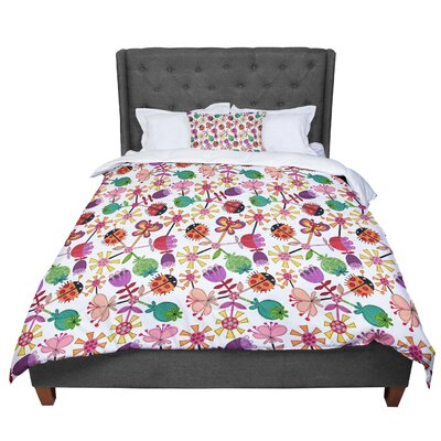 Jane Smith Garden Floral Plants Bugs Comforter Size: Twin