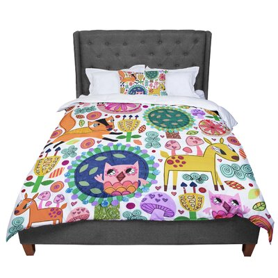 Jane Smith Woodland Critters Colorful Cartoon Comforter Size: Queen