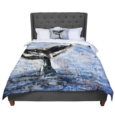 Josh Serafin Whale Tail Coastal Painting Comforter Size: Queen