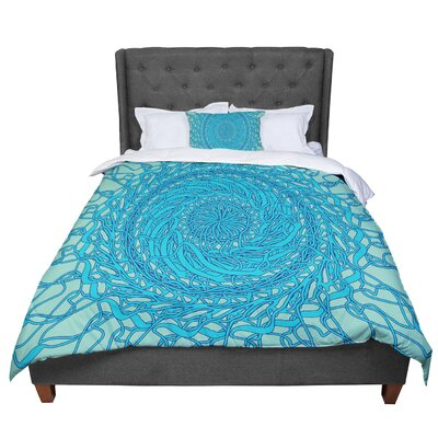 Patternmuse Mandala Spin Comforter Size: Queen, Color: Green/Blue