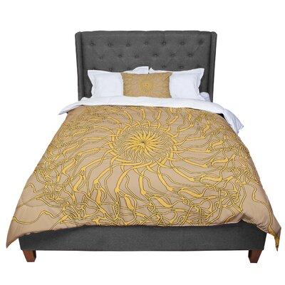 Patternmuse Mandala Spin Latte Comforter Size: Queen