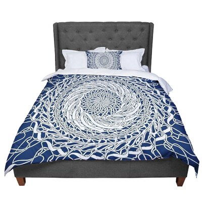 Patternmuse Mandala Spin Comforter Size: Queen, Color: Blue/White