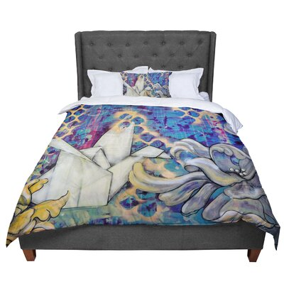 Kira Crees Peonies and Crane Comforter Size: Queen