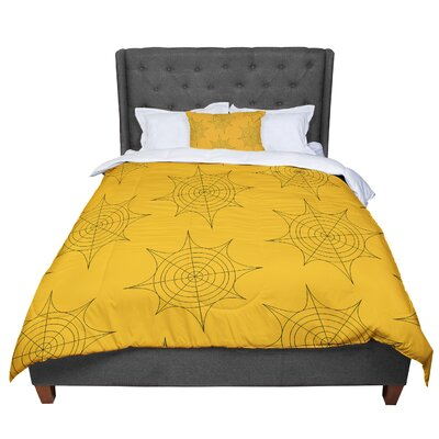 Spiderwebs Comforter Size: Queen, Color: Yellow