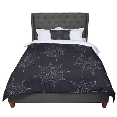 Spiderwebs Comforter Size: Queen, Color: Black