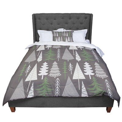 Happy Forest Comforter Size: King, Color: Brown/Green