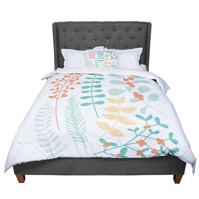 Deck the Hollies Comforter Size: Queen, Color: Orange/Teal