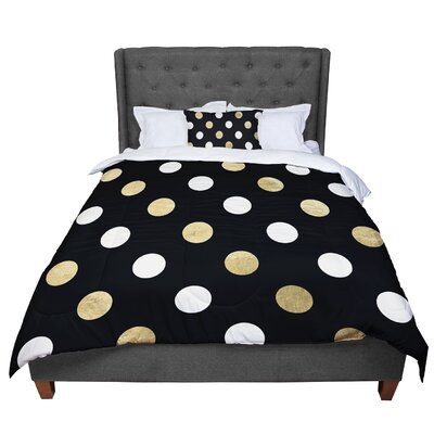 Dots Comforter Size: Twin, Color: Black/Gold