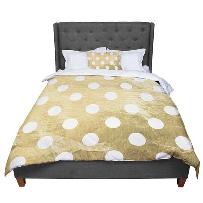 Dots Comforter Size: Queen, Color: White/Dark Gold