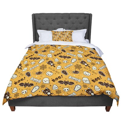 All Cute Halloween Pattern Comforter Size: Queen