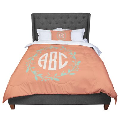 Classic Wreath Monogram Typography Comforter Size: King, Color: Orange/Green
