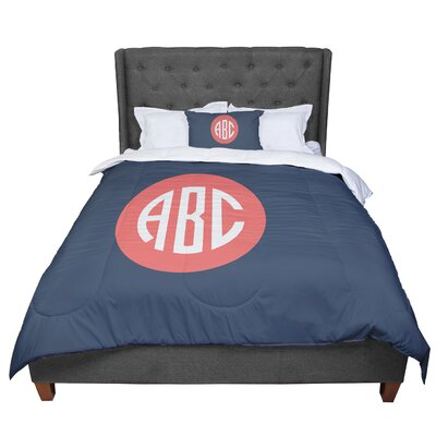 Classic Circle Monogram Tyopgraphy Comforter Size: King