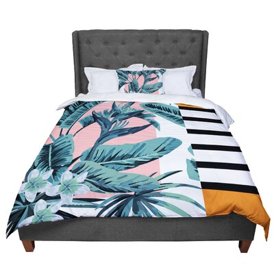 Monstera Nature Pop Art Comforter Size: Queen