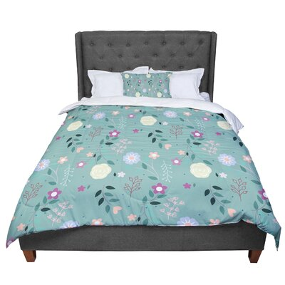 Louise Flora Flowers Comforter Size: King