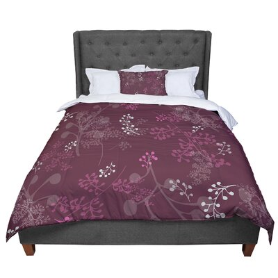 Laurie Baars Ferns Vines Floral Comforter Size: Queen, Color: Maroon/Bordeaux