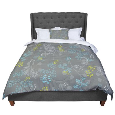 Laurie Baars Ferns Vines Floral Comforter Size: Queen, Color: Brown/Aqua/Green
