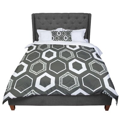 Laurie Baars Hexy Comforter Size: Queen, Color: Gray/White