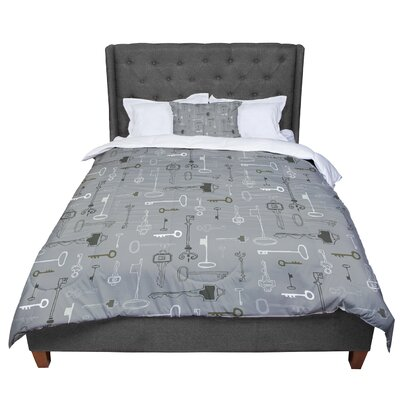 Laurie Baars Keys Comforter Size: King, Color: Gray