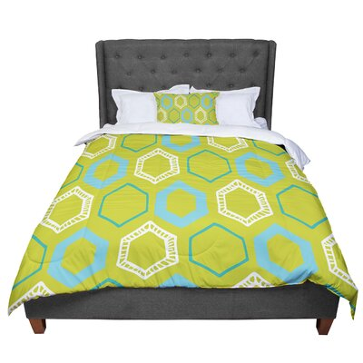 Laurie Baars Hexy Comforter Size: Queen, Color: Green/Blue/Lime