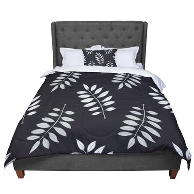Laurie Baars Pagoda Leaf Floral Illustration Comforter Size: Queen, Color: Black/White