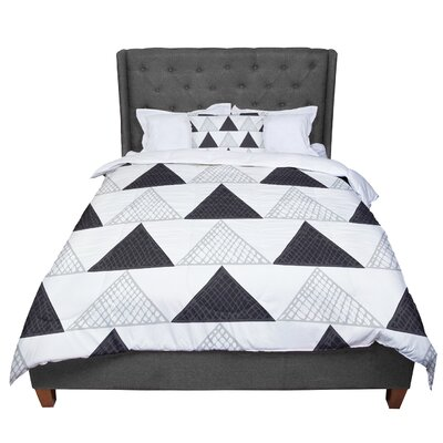 Laurie Baars Textured Triangles Geometric Abstract Comforter Size: Queen, Color: Black/White