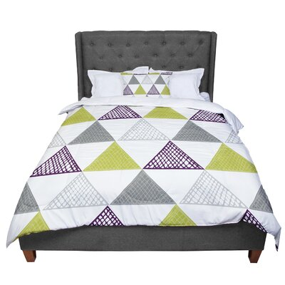 Laurie Baars Textured Triangles Geometric Abstract Comforter Size: King, Color: Green/Gray