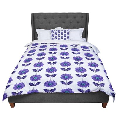 Laura Escalante Gerbera Lavender Flower Comforter Size: Queen, Color: Purple/White